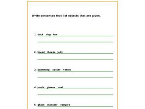 Writing Sentences That Contain Lists Worksheet