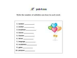 Write the Number of Syllables in Each Word Worksheet