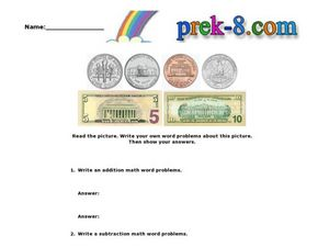 Identifying Money and Writing Word Problems Worksheet