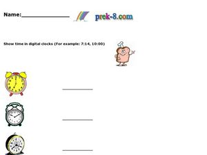 Show Time in Digital Clocks Worksheet