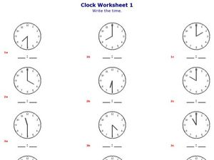 Clock Worksheet 2 Write the Time to the Half Hour