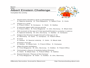Albert Einstein Challenge Worksheet