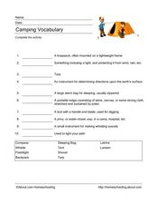 Camping Vocabulary Worksheet