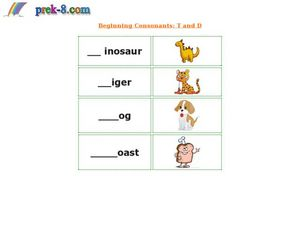 Beginning Consonants: T and D Worksheet