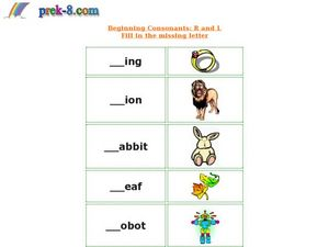 Beginning Consonants R and L Worksheet