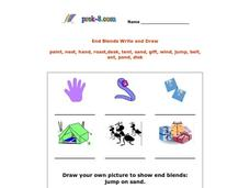 End Blends Write and Draw Worksheet