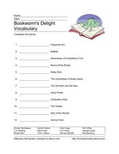 Bookworm's Delight Vocabulary Worksheet