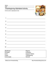 Thanksgiving Alphabet Activity Worksheet