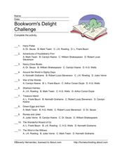 Bookworm's Delight Challenge Worksheet
