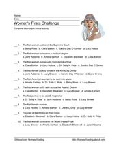 Women's Firsts Challenge Worksheet