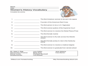 Women's History Vocabulary Worksheet