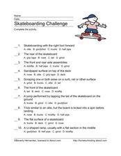 Skateboarding Challenge Worksheet