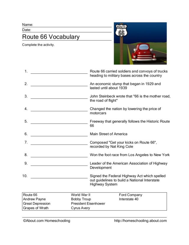 Route 66 Vocabulary Worksheet