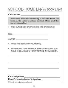 School-Home Links: Book Links Worksheet