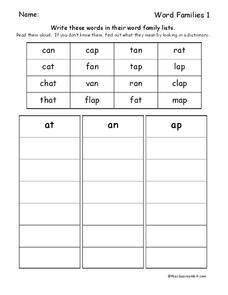 Word Families -at, -an, -ap Worksheet