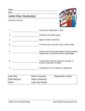 Labor Day Vocabulary Worksheet