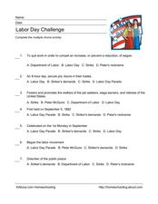 Labor Day Challenge Worksheet