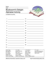 Bookworm's Delight Alphabet Activity Worksheet