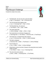 Paul Bunyan Challenge Worksheet