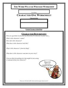THE WORD WEAVER WRITERS WORKSHOP - Character One Description Worksheet
