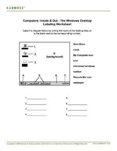 Computers: Inside & Out - The Windows Desktop Labeling Workshop Worksheet