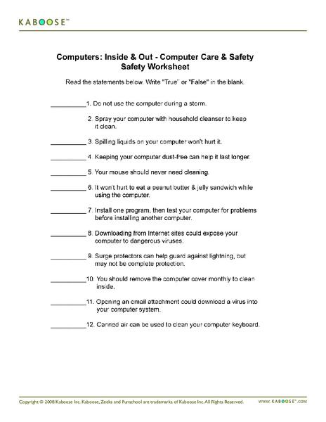 Computer worksheets