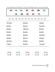 Multiplication by 6 Drill Lesson Plan