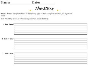 Astronomy and Stars Worksheet