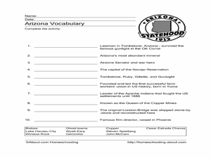 Arizona Vocabulary Worksheet