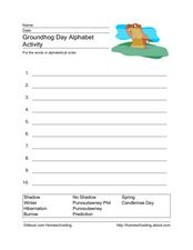 Groundhog Alphabet Activity Worksheet