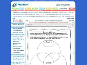 Comparing Climates - Three Ring Venn Diagram Worksheet