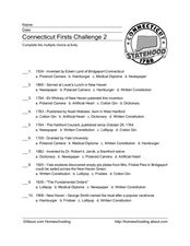 Connecticut First Challenge 2 Worksheet