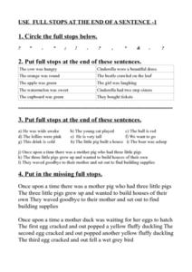 Using Full Stops at the End of a Sentence Worksheet