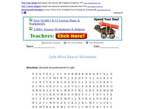 Cells Word Search Worksheet