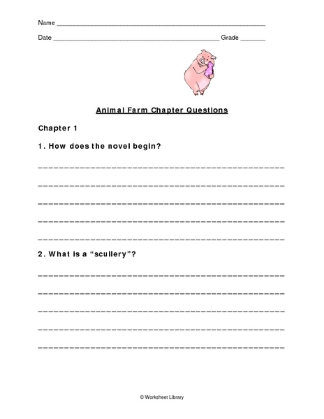 animal farm chapter questions worksheet for 6th 10th grade lesson planet. Black Bedroom Furniture Sets. Home Design Ideas