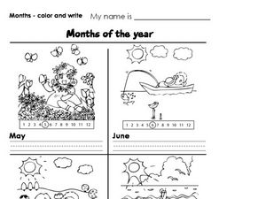 Months Color and Write Worksheet