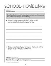School-Home Links: Writing About Your Family Worksheet