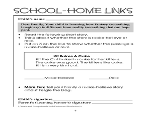 School-Home Links: Fiction and Non-Fiction Worksheet