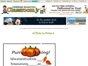 Pumpkin Picking! Mad Lib Worksheet