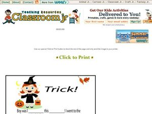 Trick! Mad Libs Worksheet