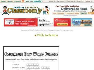Columbus Day Word Puzzle Worksheet