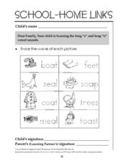 School-Home Links: Long e and Long o Worksheet