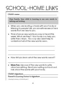School-Home Links: Use New Words in Talking and Writing Worksheet