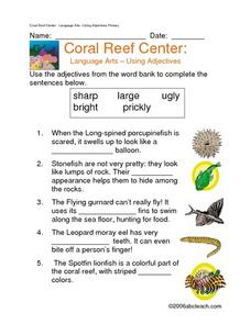 Coral Reef Center: Adjectives Worksheet for 3rd - 4th ...