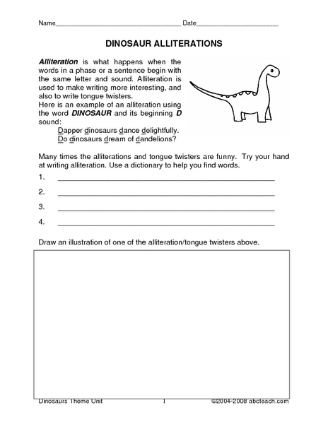 dinosaur alliterations worksheet for 4th 5th grade lesson planet. Black Bedroom Furniture Sets. Home Design Ideas
