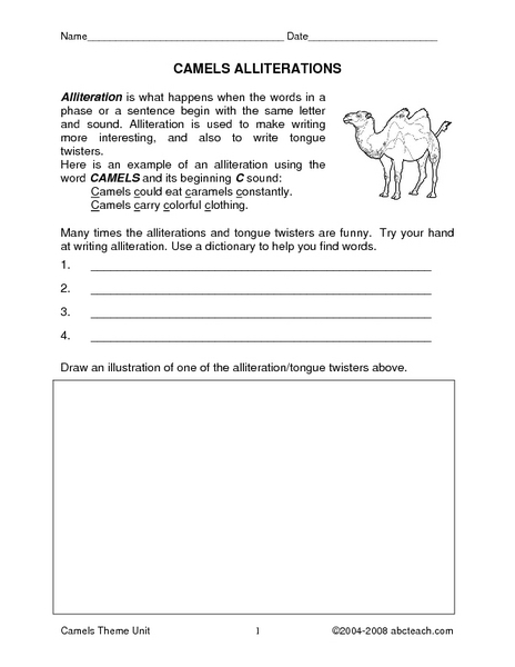 Camels Theme Unit Worksheet For 2nd 4th Grade Lesson