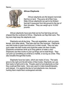 African Elephants Worksheet
