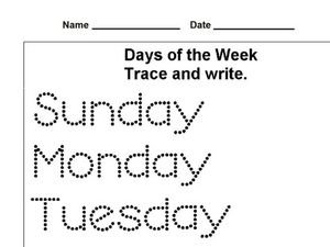Days of the Week Trace and Write Worksheet for 1st Grade