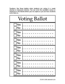 Voting Ballot Worksheet