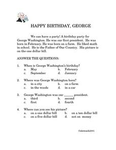 Happy Birthday, George! Worksheet